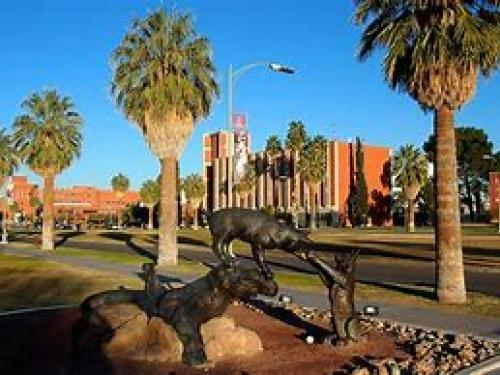 Campus statue of wildcats playing